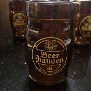 Vintage Set of 7 Beer Hausen Pale Pilsen Amber Glass