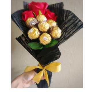 ❤ Premium (One n Only) 3 Red Rose Ferrero Rocher Bouquet Flower for Gifts Valentines Day Gifts