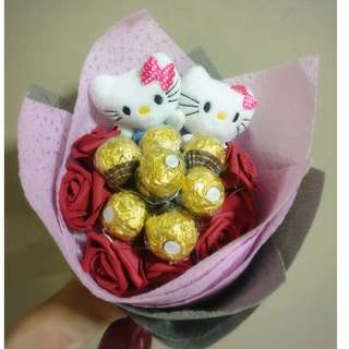 ❤ LED Couple Hello Kitty Plushie Red Rose Ferrero Rocher Bouquet Flower for Gifts Valentines Day Gifts