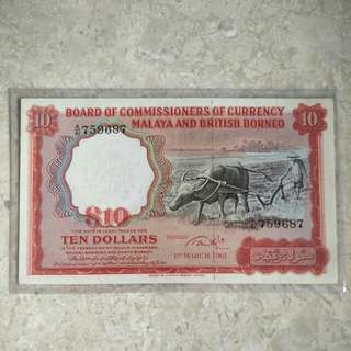 1961 MALAYA & BRITISH BORNEO BUFFALO $10 A/41 759687 aXF/XF