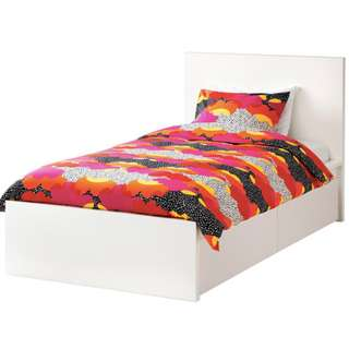 IKEA MALM Double Bed Frame+Drawers, HOVAG Mattress+Protector