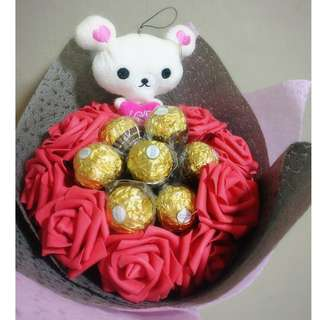 ❤ LED Rilakkuma Plushie Red Rose Ferrero Rocher Bouquet Flower for Gifts Valentines Day Gifts