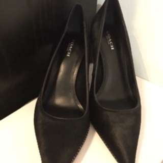 COACH Black pony hair heels