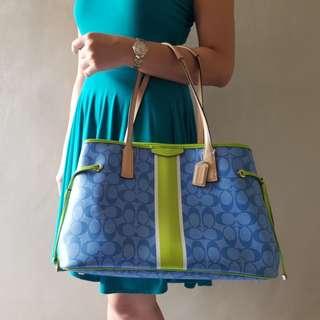 SALE!!!!!COACH F29064Signature Stripe Drawstring Carryall Handbag Blue Green