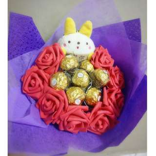 ❤ LED ( I ❤ You) Plushie Red Rose Ferrero Rocher Bouquet Flower for Gifts Valentines Day Gifts