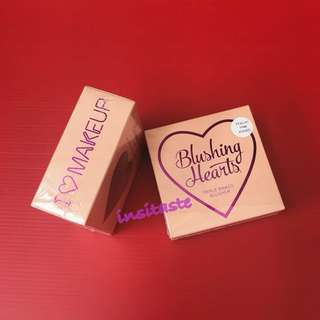 Makeup Revolution I Heart Makeup Blushing Hearts Triple Baked Blusher Highlighter - Blush - New - 💯 Authentic #CNY2018