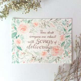 Watercolour Floral Border Bible Verse Card (Songs Of Deliverance)