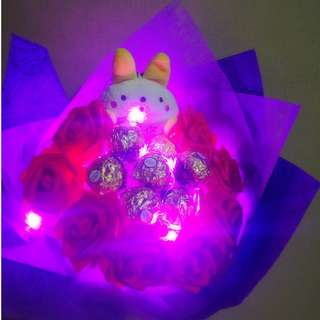 ❤ LED ( I ❤Love You) Plushie Red Rose Ferrero Rocher Bouquet Flower for Gifts Valentines Day Gifts