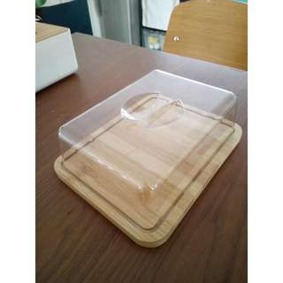 Brand New Cake / Cheese Tray (Bamboo Base With Plastic Cover)