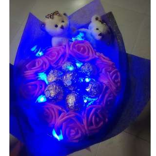 ❤ LED 2 Couple Bear Plushie Pink Rose Ferrero Rocher Bouquet Flower for Gifts Valentines Day Gifts