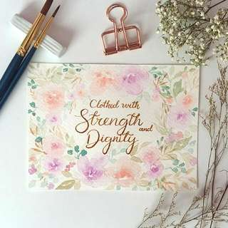 Watercolour Floral Border Bible Verse Card ( strength & Dignity)