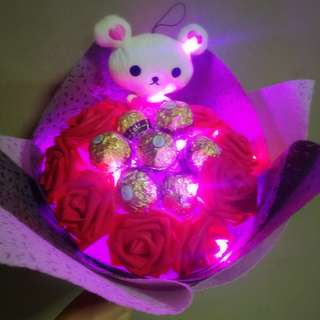 ❤ LED Red Rose  Rilakkuma Plushie Ferrero Rocher Bouquet Flower for Gifts Valentines Day Gifts