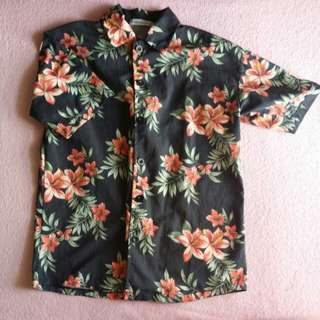 floral buttoned up button flower ulzzang black red green tropical blouse top