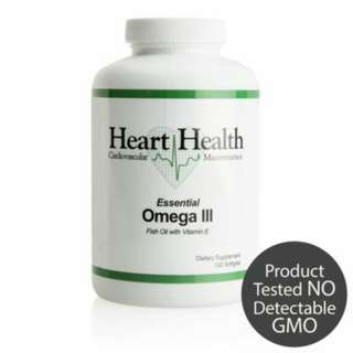 Heart Health Essential Omega III Fish Oil with Vitamin E - Single Bottle (60 Servings)