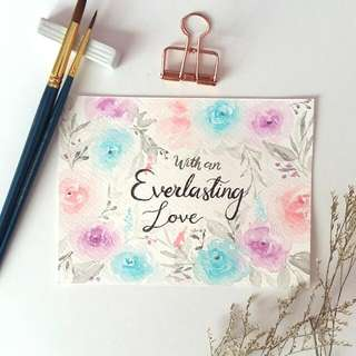 Watercolour Floral Border Bible Verse Card (Everlasting Love)