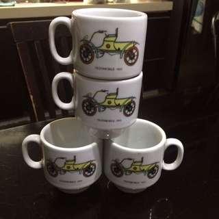 Vintage Set of 4 Oldsmobile 1901 Coffee Cups
