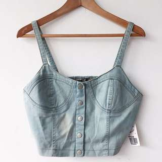 Forever 21 denim bustier crop top