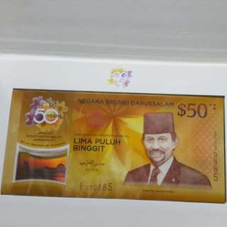 50 Years Singapore $50 + Brunei $50 Notes
