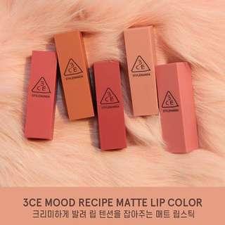 [INSTOCKS] 3CE STYLENANDA Mood Recipe Matte Lip Color