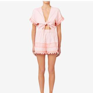 Seed Heritage Jumpsuit: tie front, soft pink, tassel details AS NEW Sz8