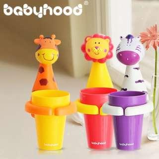 寶寶刷牙好朋友 可愛動物漱口+杯子套裝 壁掛式吸盤