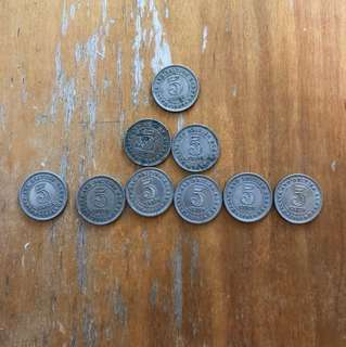 Malaya and British Borneo 5c Coins