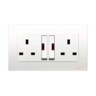 Schneider Vivace Twin Gang Large Dolly Switched Socket with Neon