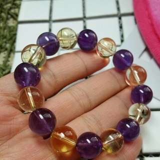 🔴紫晶☆黄晶/11mm/晶石/手鏈/手鍊