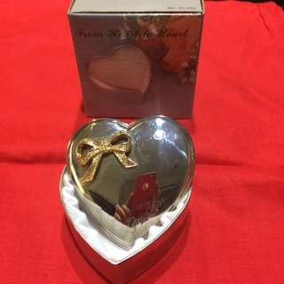 Vintage Antique Silver & Gold Metal Jewelry Heart Shaped Box