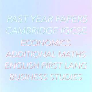 IGCSE PAST YEAR EXAM PAPERS