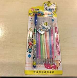 八彩顏色筆芯連筆管