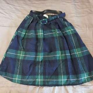 🚚 正韓貨英倫風藍綠格紋中裙,附腰帶