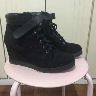 H&M Divided Black Ankle Wedge Sneakers