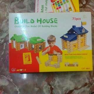 71pcs Build House Childhood Fun Model Of Building Blocks Age 3+