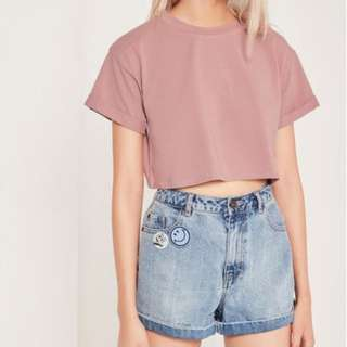 MISSGUIDED Purple Petite Roll Sleeve Cotton Crop Top