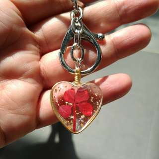 Handmade Heart shaped keychain with real Lucky clover/Lucky Leaf.