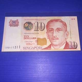 "Singapore Portrait Paper ""LHL Sign"" $10  Super Almost Solid No.1FD111311"