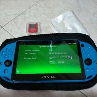PS Vita Slim (Aqua Blue) v3.60 w/ Vita SD Card Reader