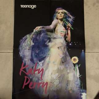 katy perry poster and the script at the back