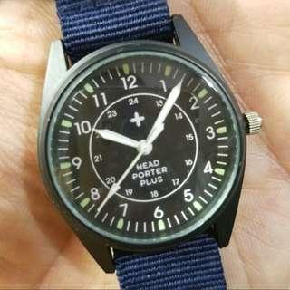 ⌚復刻軍錶⌚ Head Porter Plus,NOS未用品,全原裝,深藍色NATO帶,黑色錶頭34mm不連錶的,淨錶一隻$500,有意請pm