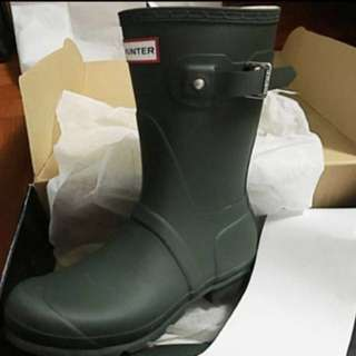 全新平放Hunter Boot rainboot中筒雨靴軍綠經典款