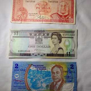 Pacific Islands Currency Notes (3pieces) Description: Currencies of Fiji, Tonga and West Samoa