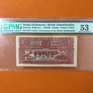 Straits Settlement $1 (red) 1925 and 1929 AU
