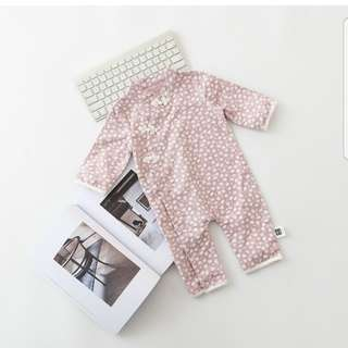 BN BNIP brand new long sleeve cheongsam qipao pink floral onesie romper for 1 year old cotton cny chinese new year