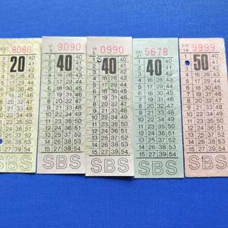 Old SBS bus tickets with nice number