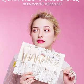 MSQ Pro 9pcs Makeup Brushes Set Powder Foundation Eyeshadow Eyebrow Lip Brush Tool With Flax Case