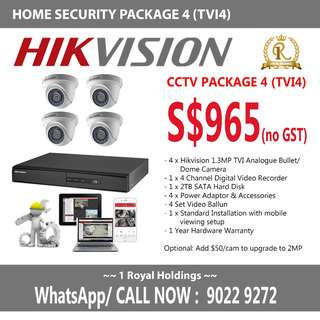 TVI4 - Hikvision 4 camera Analogue Package