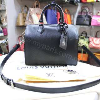 Louis Vuitton Noir Epi Leather Speedy Bandouliere