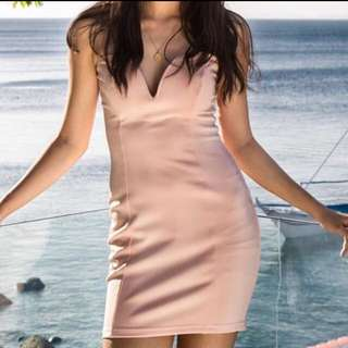 Society400 bodycon strapless pink dress