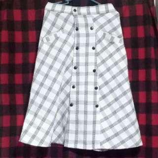 Vintage White Checkered Skirt